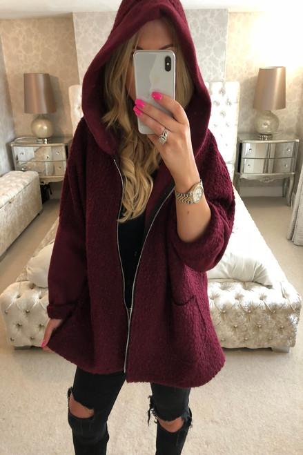 Bianca Wine Hooded Coatigan