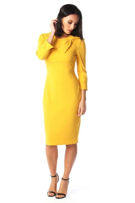 Mustard Ashley Bow Dress