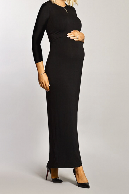 Maternity Black Tube Long Sleeve Maxi Dress
