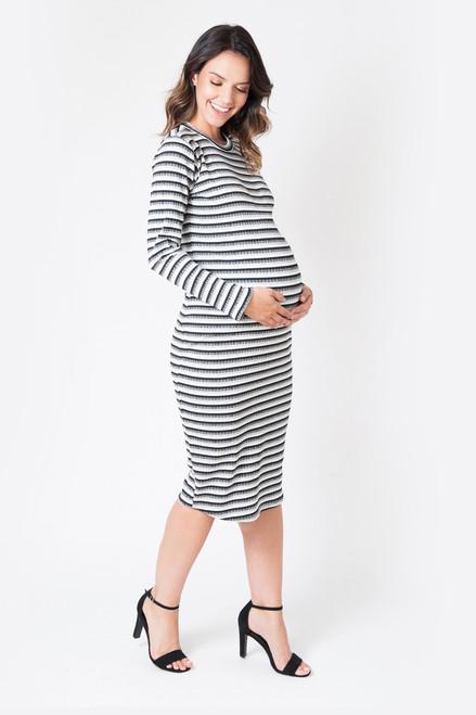 Stripe Maternity Ribbed Long Sleeve Midi Dress