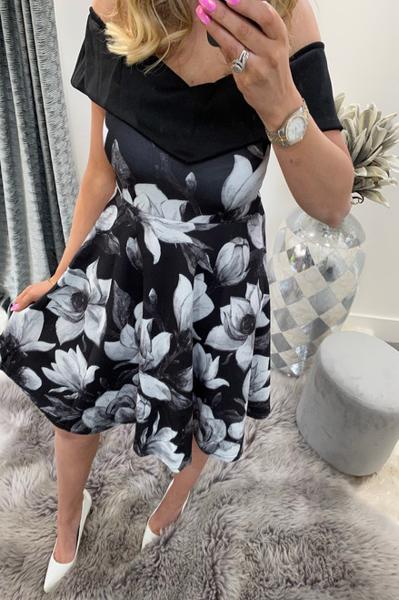 Mikeno Black Floral Bardot Skater Dress