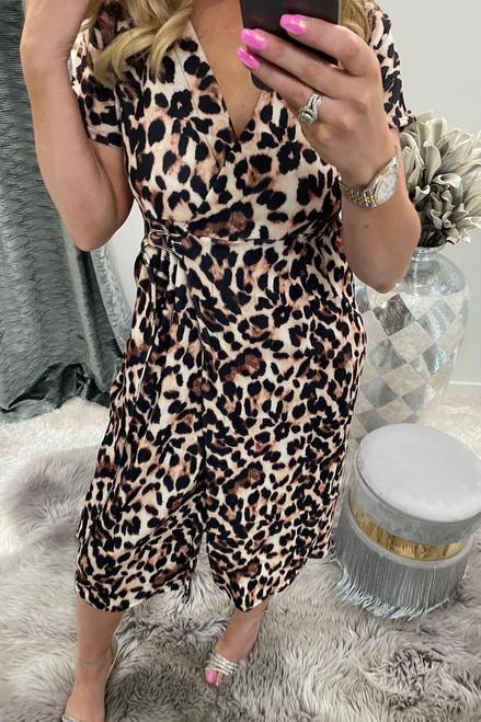 Leopard Short Sleeve Wrap Over Belted Dress