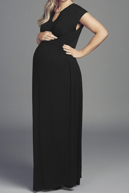 Maternity Black  Maxi Dress with Silver Detail