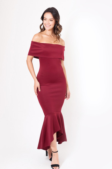 Alejandra Wine Fishtail Maxi Dress