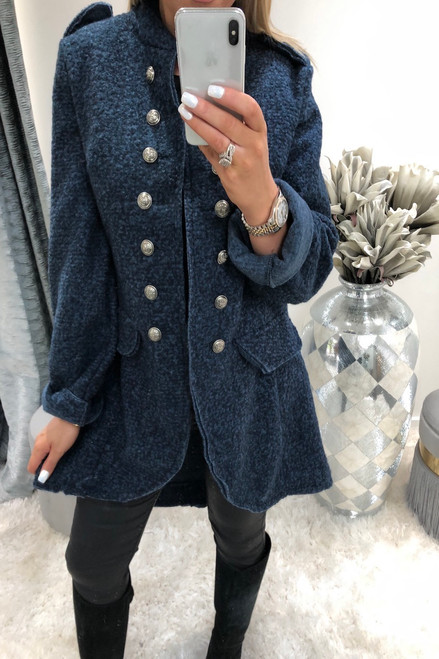 Navy  Military Button Coat