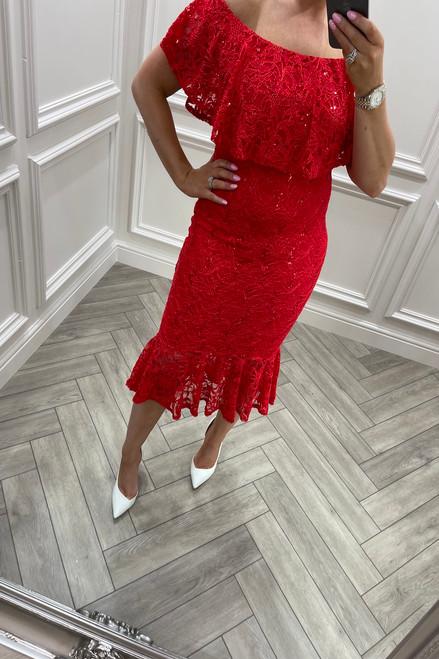 Red Bardot Frill Sequin Lace Midi Dress