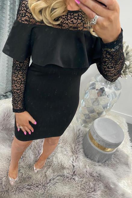 Penny Black Bardot Frill Lace Midi Dress