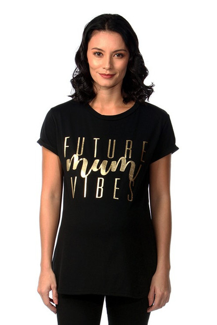Maternity Black 'Future Mum Vibes' T-Shirt