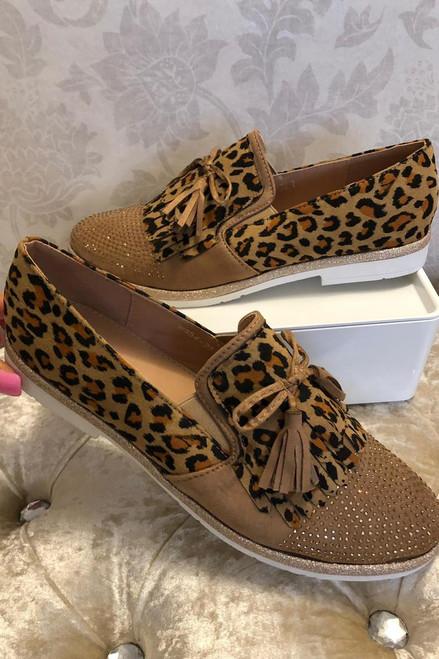 Camel Leopard Loafers with Fringe