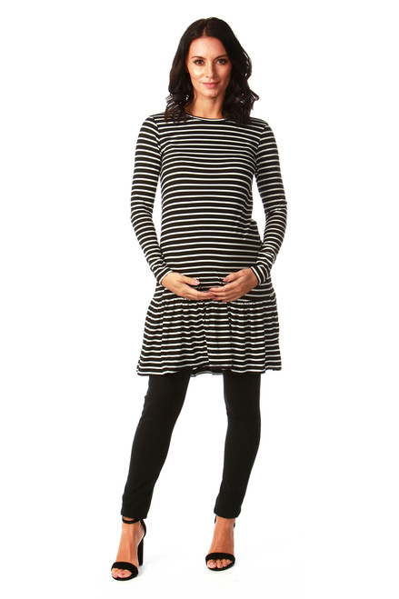 Maternity Black & White Stripe Dress with Peplum Hem