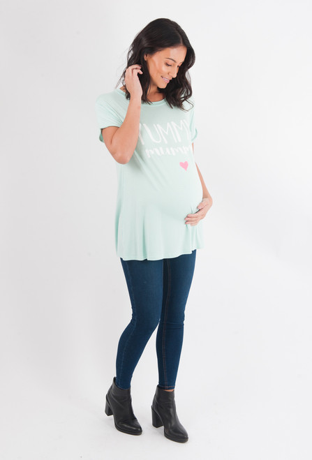 Maternity Green 'Yummy Mummy' Top