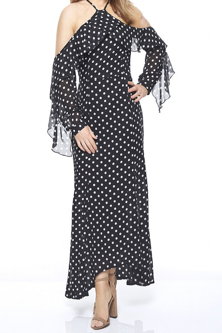 Black Polka Dot Chiffon Maxi Dress