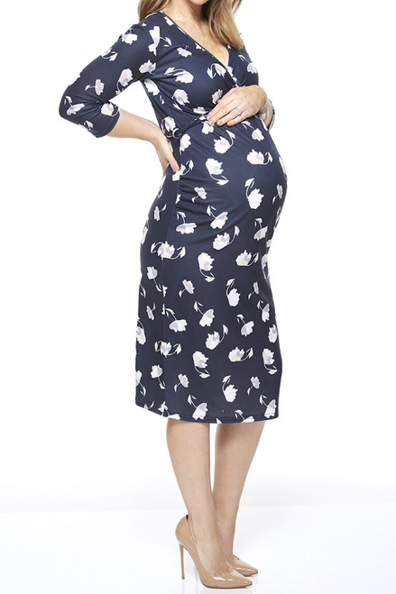 Maternity Neave Wrap Over Floral Midi Dress