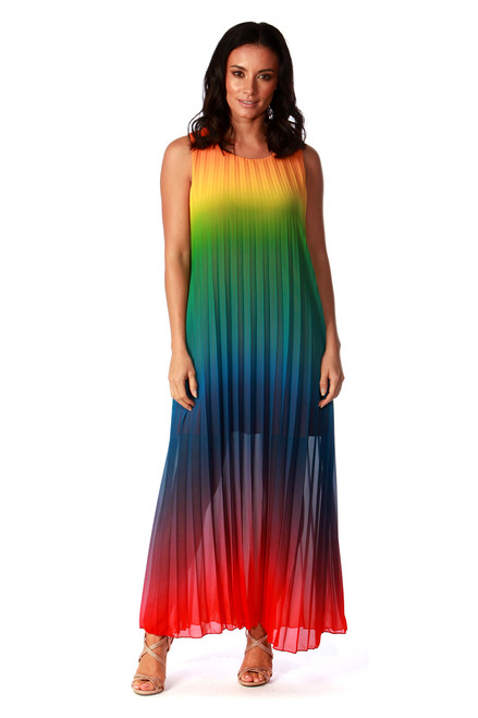 Multi-Colour Maxi Pleated Dress