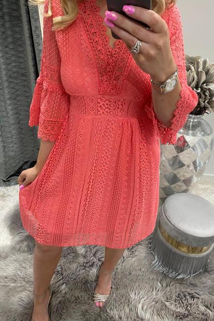 Annabelle Coral Crochet Flute Sleeve Dress