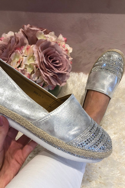 SIlver Shimmer Diamante Loafers