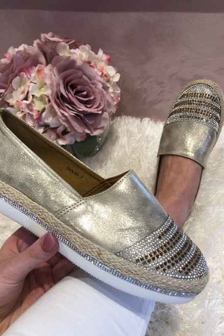 Gold Shimmer Diamante Loafers