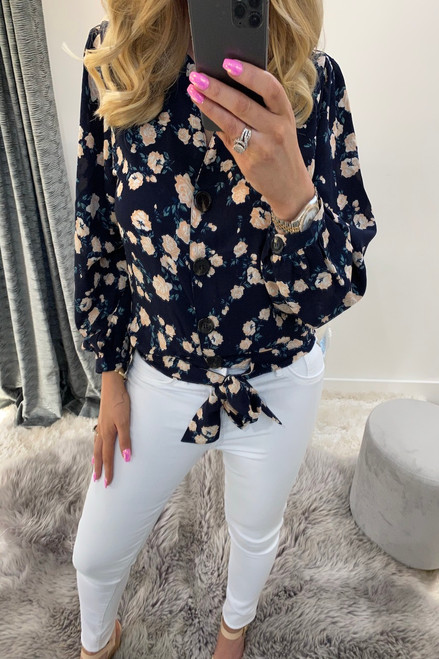 Tyra Navy Floral Tie Front Blouse