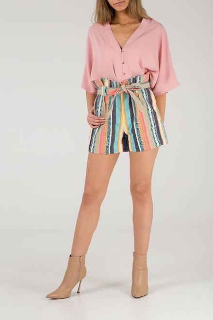 Multicolour Paper Bag Stripe Shorts