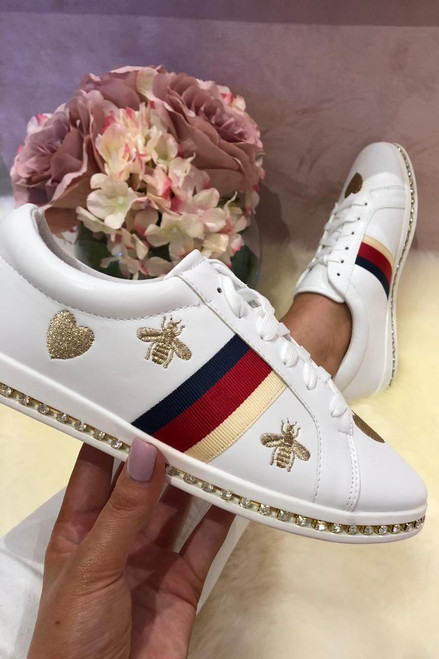 White Bee Studded Trainers