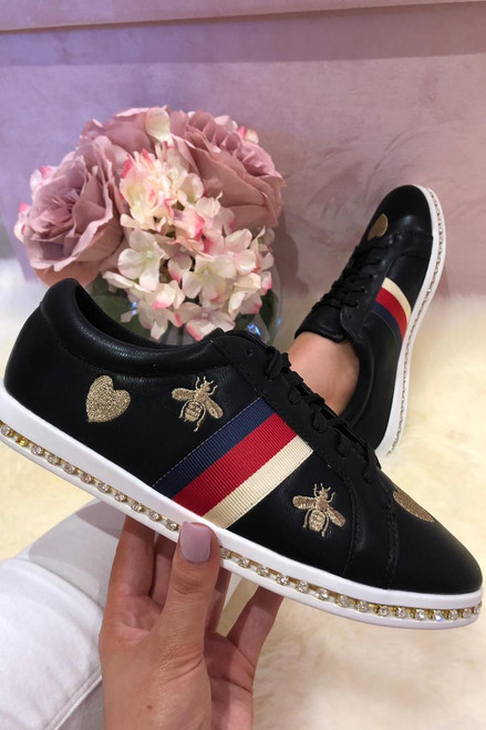 Black Bee Studded Trainers