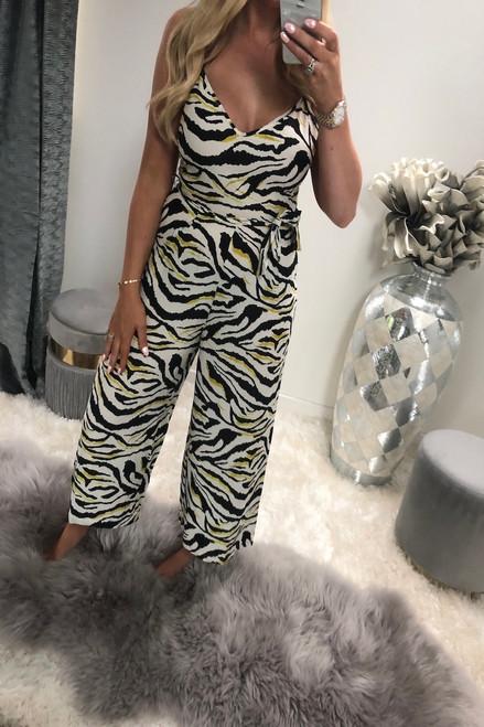Neon Zebra Print Culotte Jumpsuit