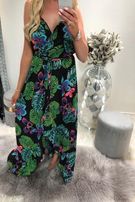 Black Tropical Print Wrap Over Maxi Dress
