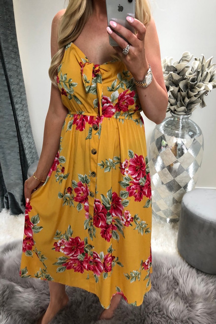 Natalie Yellow Tropical Print Midi Dress