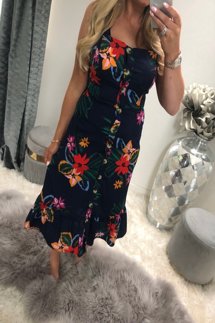 Navy tropical Print Button Down Midi Dress