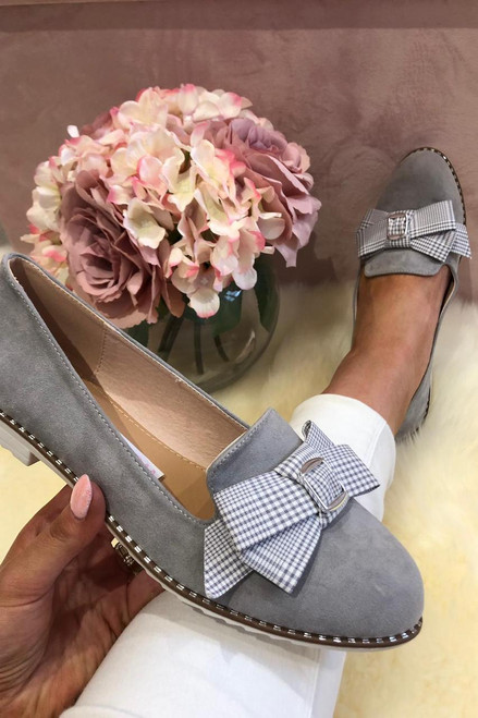 Grey Suede Loafers with Tartan Bow