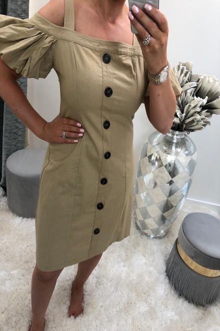 Avienna Beige Button Detail Dress