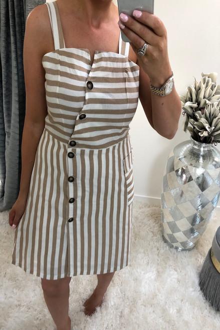 Beige Nova Stripe Button Detail Dress