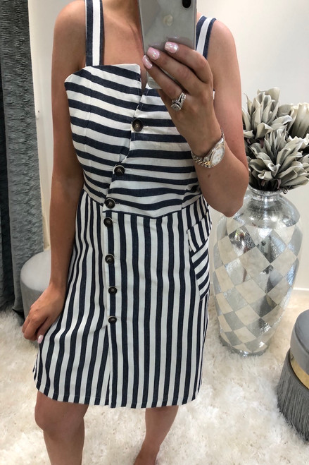 Blue Nova Stripe Button Detail Dress