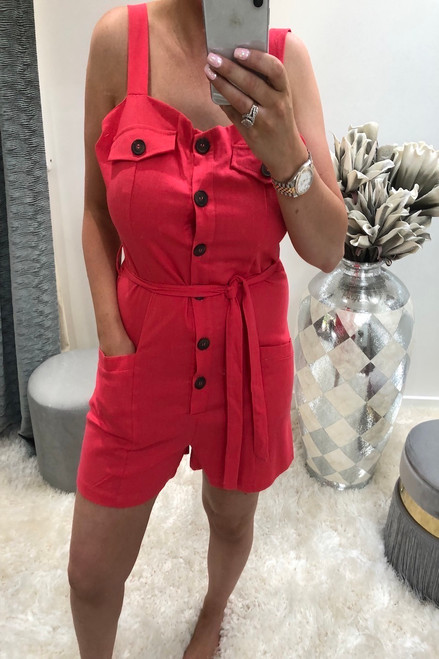 Lia Pink Button Front Playsuit