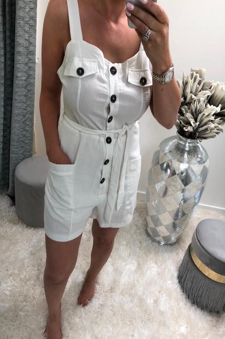 Lia White Button Front Playsuit