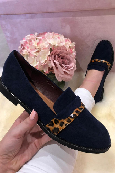 Navy Suede Loafers with  Leopard Stripe