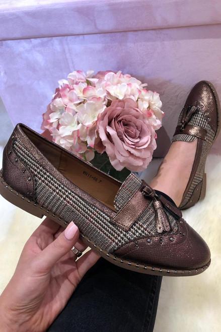 Bronze Tartan Loafers