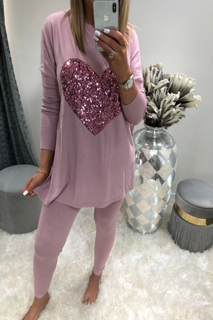 Pink Sequin Heart Oversized Lounge Wear Set