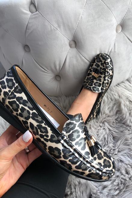 Black Leopard Sally Tassel Loafers