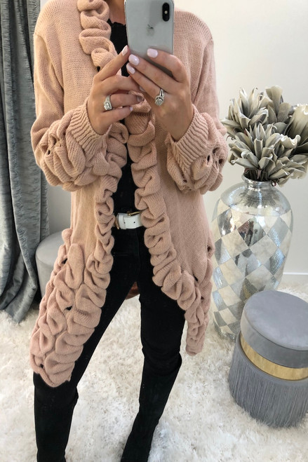 Pink Antoneli Knitted Pocket Cardigan