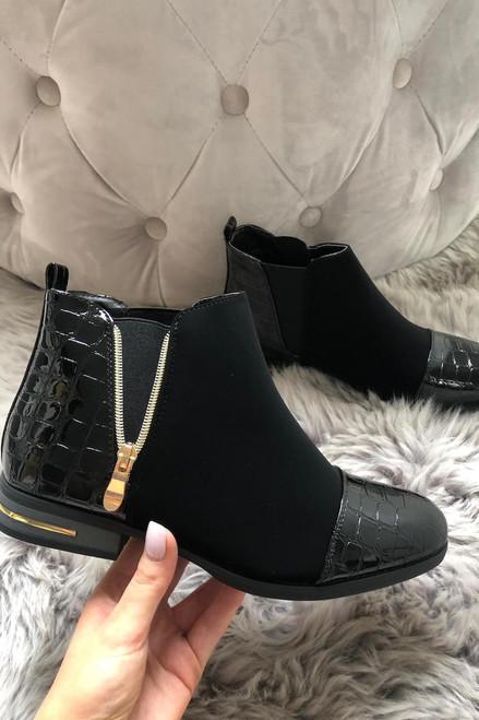 Zip Black Croc Print Boots