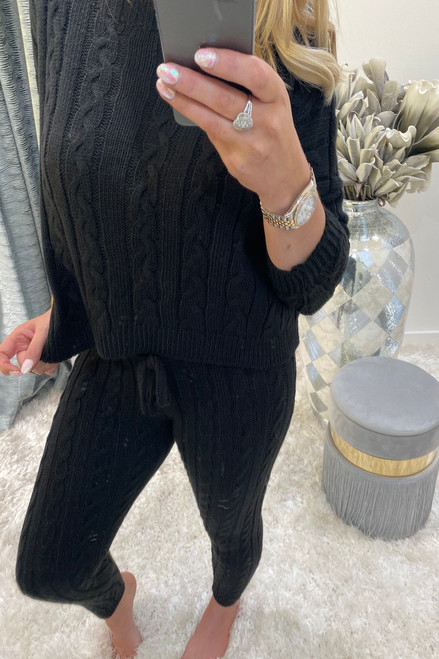 Adela Black Knitted Co-ord Loungesuit Set