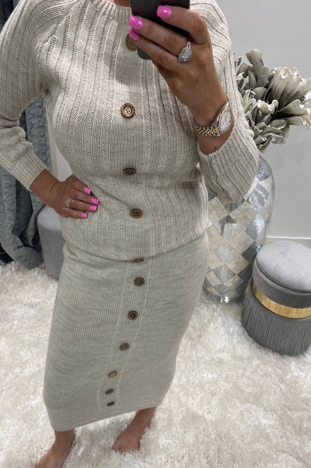 Teyo Cream Knitted Co-ord Button Skirt Set