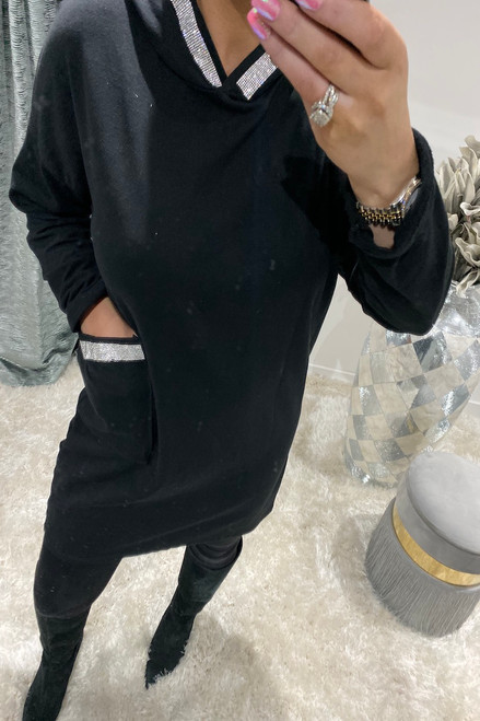 Black Diamante Sequin Hooded Sweatshirt