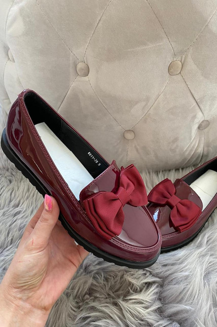 Wine Patent Bow Loafers