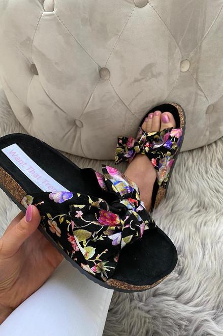 Black Floral Bow Sliders