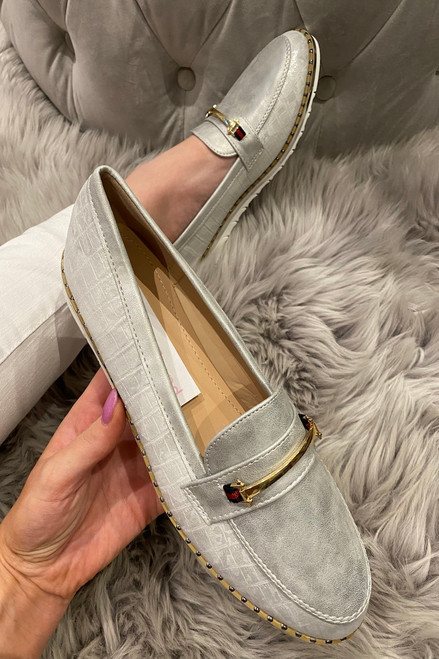 Kedeliria Silver Metalic Loafers