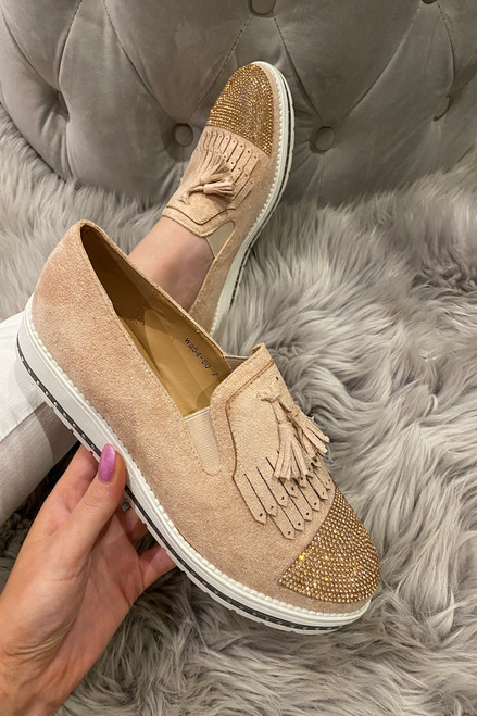 Betty Dusky Pink Suede Diamonds Loafers