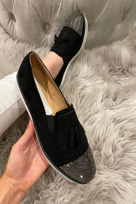 Betty Black Suede Diamonds Loafers
