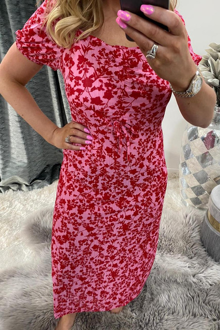 Pink Ruched Bust Midi Dress